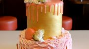 gold and pink ruffle cake